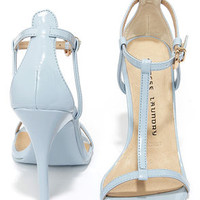 Chinese Laundry Leo Cashmere Blue Patent T Strap Dress Sandals
