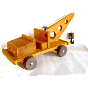 Wood toy. Wooden toy. Hand crafted wood. Toy truck. Boys holiday gift. Wood truck. Tow truck. Wooden toy truck. Wood toy truck.