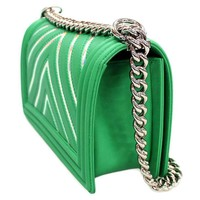 CHANEL Chain Shoulder Bag Boy Chanel Lambskin Green A67086 Authentic 4235613