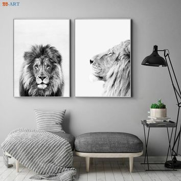 Black and White Canvas Painting Lion Prints Nursery Animal Poster Modern Wall Art Living Room Home Decoration