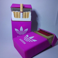Adidas Silicone Cigarette Box Cover Fluorescent Pink Soft Clamshell Cigarette Case