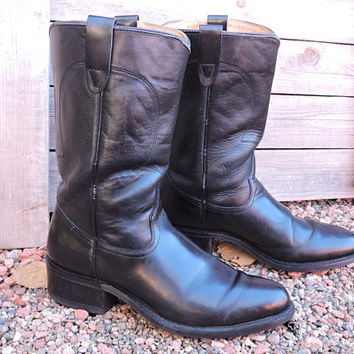 Vintage Texas cowboy roper boots / size 8.5 mens / 10 womens / black leather western riding boots / Texas All American made in USA