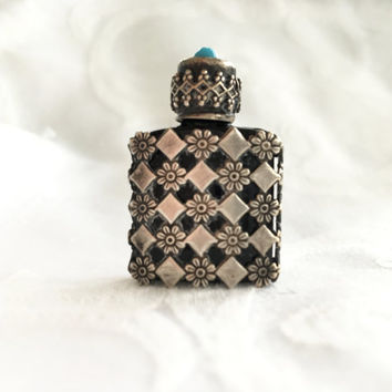 Antique Sterling Overlay Miniature Perfume Bottle France