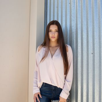 Blush Long Sleeve Small Cut Out Top