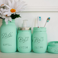Painted Distressed Mason Jars Bathroom Set - Mint Green - Home Decor  - Soap Dispenser - Bathroom Organizer - Bathroom Decor