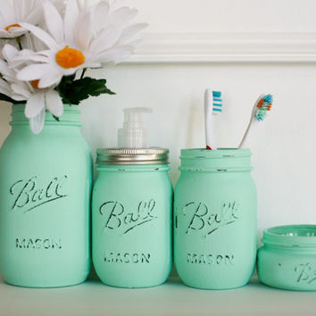 Painted Distressed Mason Jars Bathroom Set   Mint Green   Home D