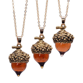 Women Glaze Acorn Cone Spinning Top Pendant Charms  Necklaces