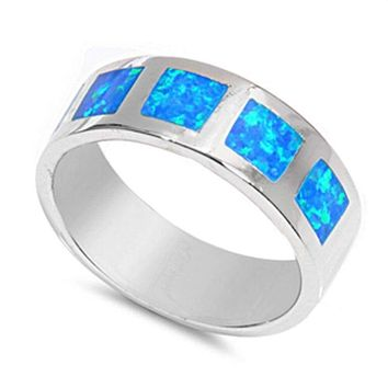Blue Lab Opal in Square Patterns Inlay Set in Sterling Silver Wide Band