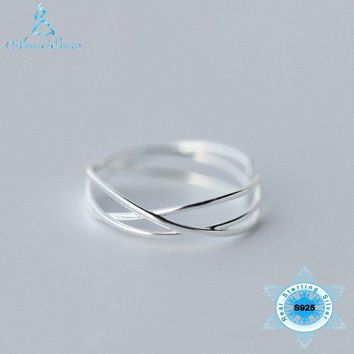 NEW Arrivals 2018 Silver Ring 925 Sterling Silver Boho Twisted Cross Simple Fashion Jewelry Party Students Gift Womens Jewellery
