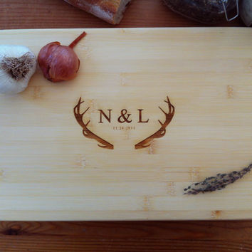 Custom Engraved Chopping Block, Personalized Cutting Board, Antlers,Wedding Gift, Engraved Initials,Valentines Gift, Engagement Present
