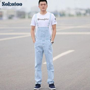 Sokotoo Men's light blue white denim bib overalls Male casual straight slim jumpsuits Jeans Free shipping