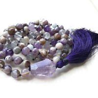 Lift Your Spirits Mala Beads, Amethyst and Aquamarine Mala Necklace, Throat Chakra Mala, 108 Bead Purple Mala, Calm An Active Mind Mala