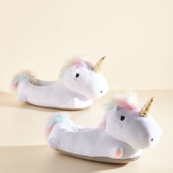 Unicorn Light My Life Slippers | Mod Retro Vintage Flats | ModCloth.com