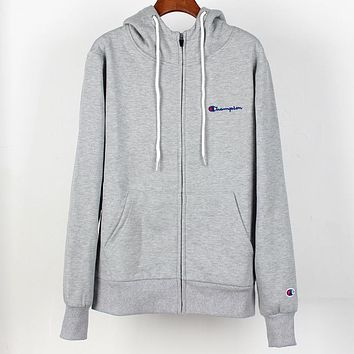 Champion autumn and winter plus velvet warm men and women hooded sweater Grey