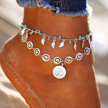 Bohemian OM Leaf Cute Women Ankle Bracelet Ladies Anklet Ankle Chain Leg Jewelry Gold Silver Color