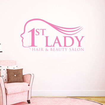 Wall Decal Fashion Beauty Salon First Girl Hair Hairstyle Woman Design Decals Wedding Hair Salon Hairdressing Living Room Home Decor 3777