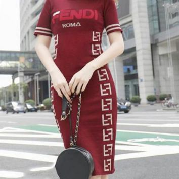 FENDI Summer Trending Womens Stylish Print Sexy Bodycon Knit Knee-Length Dress Red