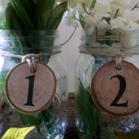 Table Numbers with Mason Jars, Wedding Decoration, Wedding Table Numbers, Mason Jars