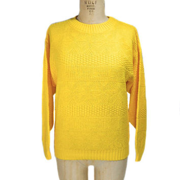 S A L E 1980s Part Two Yellow Sweater / Acrylic / Hipster / Knit / Winter / Womens Vintage Sweater / Size Medium