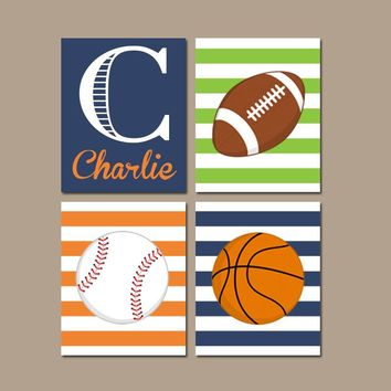 SPORTS Wall Art, CANVAS or Prints, Boy Nursery Decor, Sports Theme, Big Boy Bedroom, Football Baseball Basketball Set of 4 Boy Name Decor
