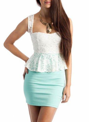 lace peplum dress $31.70 in IVORYMINT - New Dresses | GoJane.com