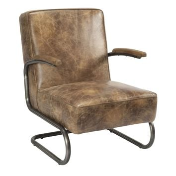 Perth Club Chair Light Brown Distressed Top Grain Leather
