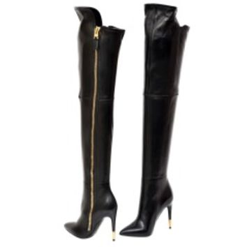 New TOM FORD BLACK STRETCH-LEATHER OVER THE KNEE BOOTS WITH OPEN TOE