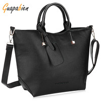 Guapabien Sexy Red PU Leather  Black Big Women's Handbag Brands Elegant Ladies Sacthel Purse Messenger Crossbody Large Bags Tote