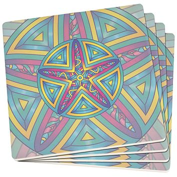 Mandala Trippy Stained Glass Starfish Set of 4 Square SandsTone Art Coasters