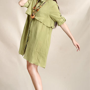 Women light green bracelet sleeve trench linen shirt dress (ESR125)