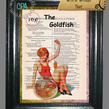 October Red Swimsuit Pin-Up Girl Playing with Goldfish in a Glass Bowl - Vintage Dictionary Page Art Print Upcycled Page Print