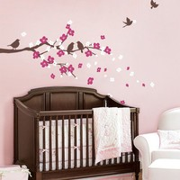 Cherry Blossom Branch with Birds  Kids Vinyl Wall by SimpleShapes