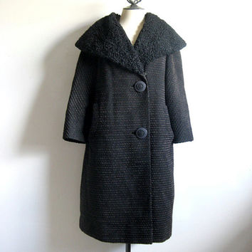 Vintage 1960s Coat Black Wool Dark Brown Chenille Persian Fur Collar Coat Large