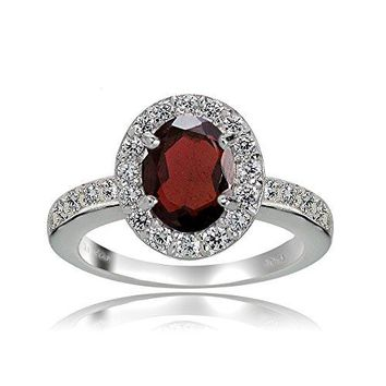 Sterling Silver Garnet and White Topaz Oval Halo Ring