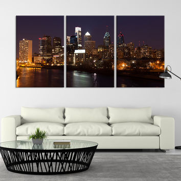 Extra Large Wall Art - Philadelphia Cityscape Canvas Print,  Philadelphia Sunset  Canvas Print, Philadelphia Skyscrapers Art Print