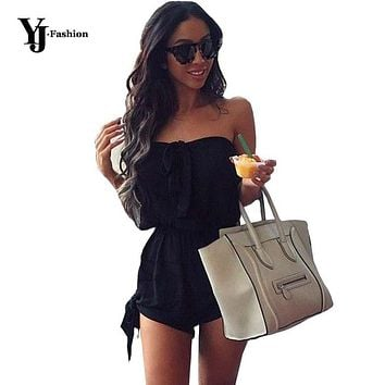 YJ Fashion Sexy Women Beach Rompers Jumpsuits Black Red 2017 Summer Ladies Slim Sleeveless Off Shoulder Strapless Playsuit