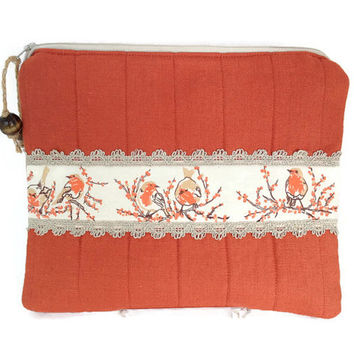 Orange linen Zipper pouch, Bird purse, Quilted zipper tote, Padded tablet bag, Travel organizer, Fabric zipper clutch, iPad mini pouch