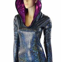 Black on Black Shattered Glass Long Sleeve Hoodie Romper with Fuchsia Sparkly Jewel Hood Liner Rave Onsie Festival Outfit