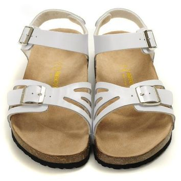 Birkenstock Leather Cork Flats Shoes Women Men Casual Sandals Shoes Soft Footbed Slippers-13
