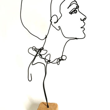 Wire sculpture -  portrait of woman - side profile - female human bust - standing sculpture - elegant young lady