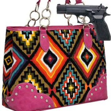 Aztec Concealed Carry Shoulder Bag: PINK