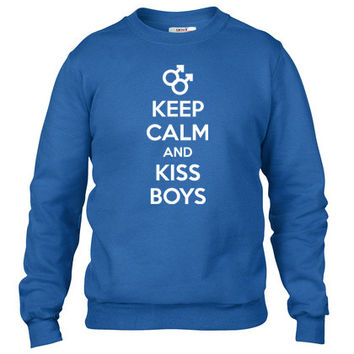 keep calm and kiss gay boys Crewneck sweatshirt