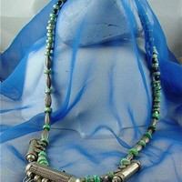 Antique Silver Amulets from Middle East w Old Genuine Turquoise Beads