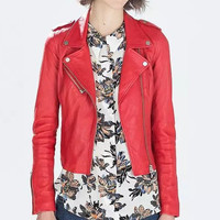 Red Leather Zippered Jacket