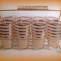 Vintage Anchor Hocking Mid Century Tumblers Frosted with Gold Bands and Caddy Mad Men
