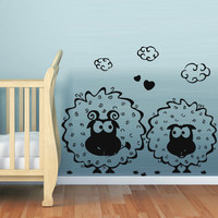 Wall decal decor decals art sheep love couple animal romance meeting rose cartoon cheerful gift funny nursery (m649)