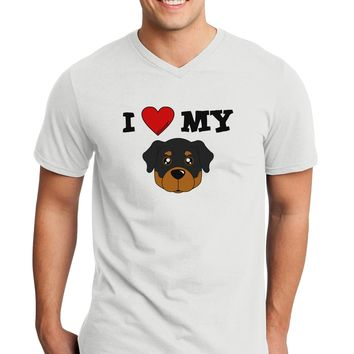 I Heart My - Cute Rottweiler Dog Adult V-Neck T-shirt by TooLoud