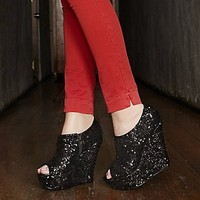 Steve Madden WOAH Black Sequin Wedges