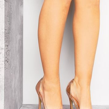 ROSE GOLD POINTED CLEAR HEELS