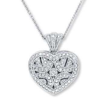 Heart Locket Necklace 1/20 ct tw Round-Cut Sterling Silver